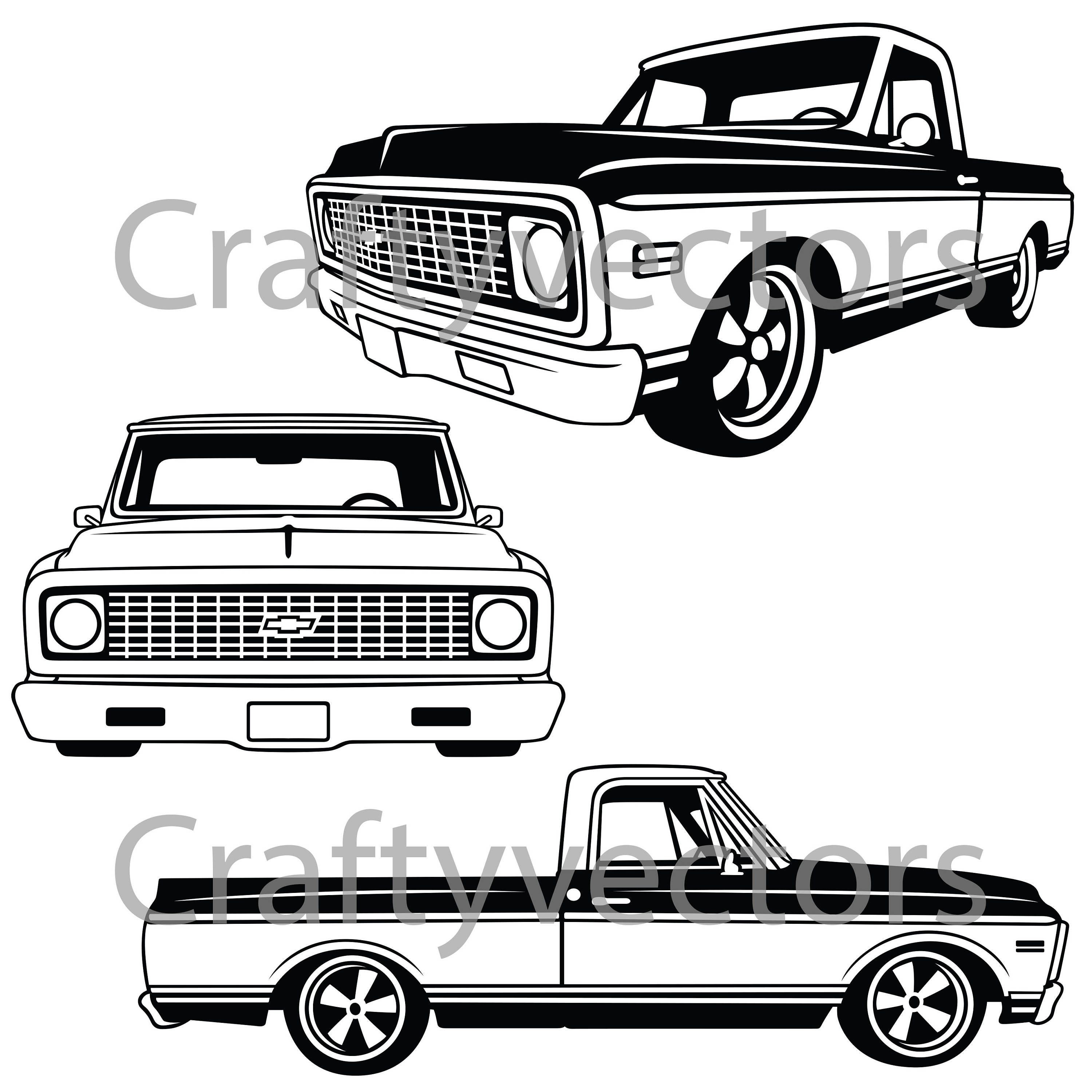 chevrolet c10 truck 1970 to 1971 vector file etsy 1946 Chevy Car 50