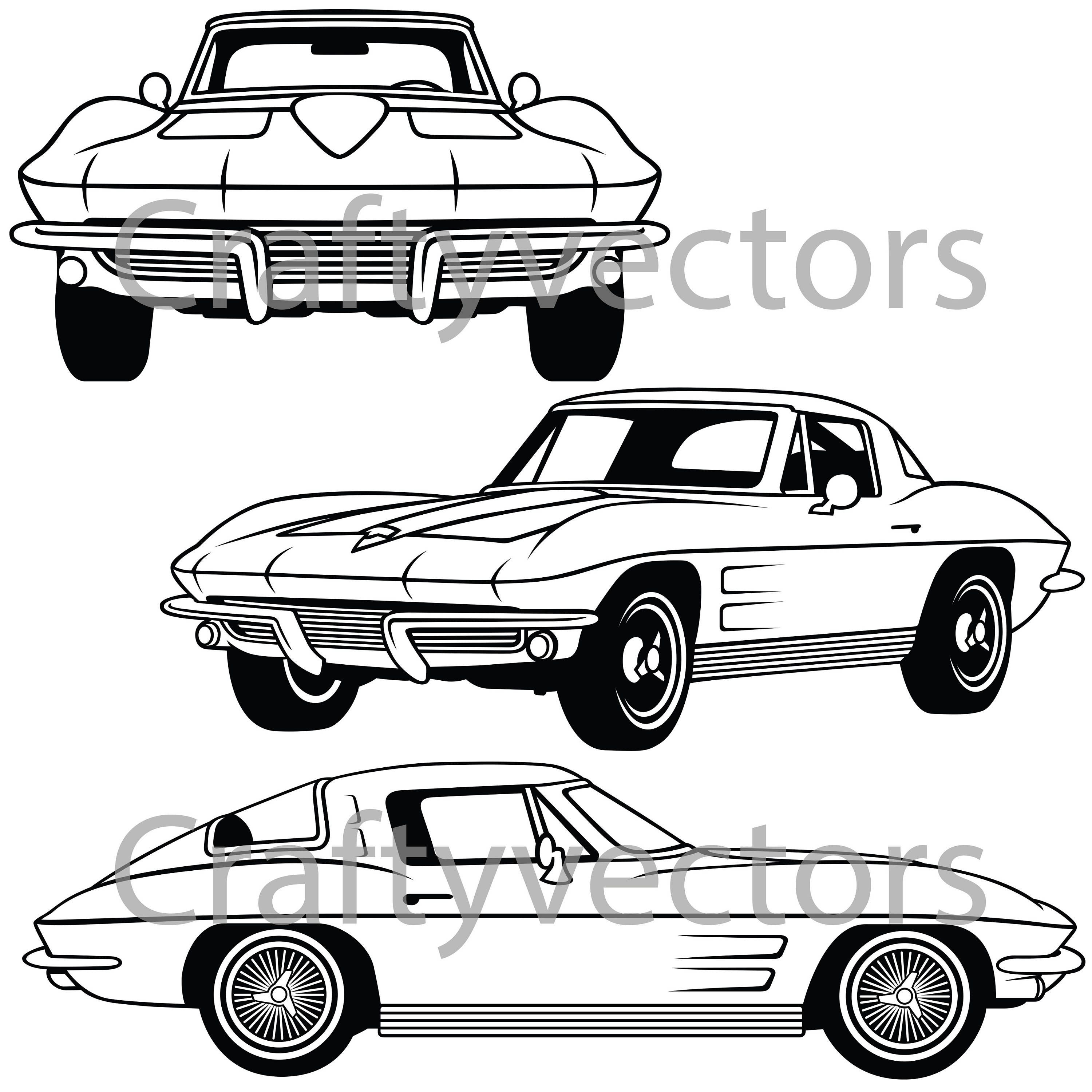 corvette stingray 1964 vector file etsy 1960 Corvette Convertible 50