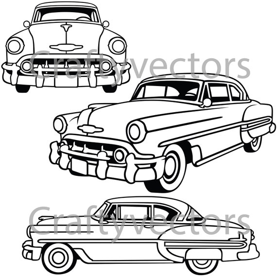 chevrolet bel air 1953 vector file etsy Custom Chevy Cobalt image