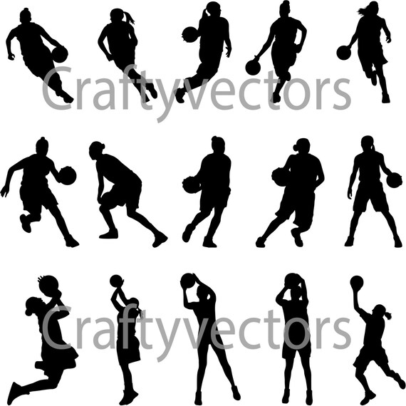 Basketball Women Silhouettes Vector Svg Cut File Etsy