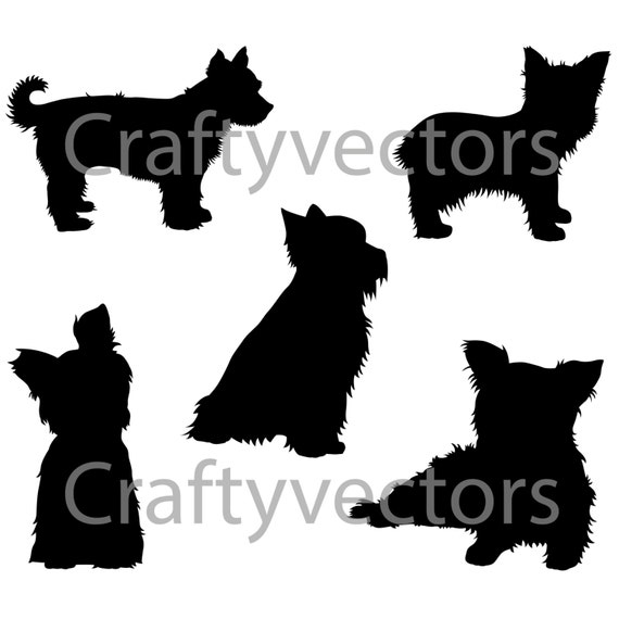 Yorkshire Terrier Dog Svg Silhouettes Etsy