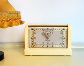 Vintage Alarm Clock Rare COUPATAN 39 39 Le Boy 39 39 Alarm Clock Bakelite Cream Color Working Clock Electric Alarm Clock Art Deco Rouen France 30s