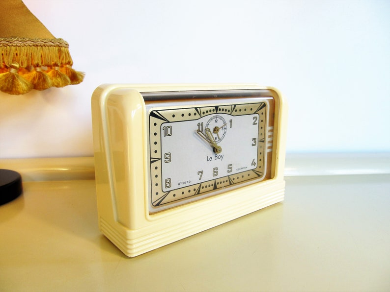 Vintage Alarm Clock Rare COUPATAN Le Boy Alarm Clock Bakelite Cream Working Clock Electric Alarm Clock Electric Alarm Clock Art Deco Rouen France 30s