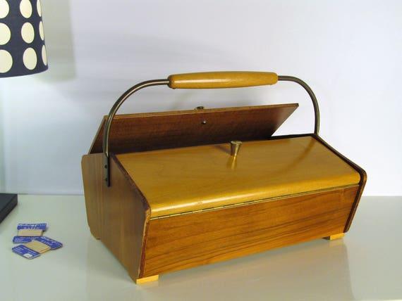 Vintage Sewing Box, Vintage Wooden Sewing Cabinet Wooden Storage Box Cabinet  Organizer Fold Out Wood Teak Box Sewing Basket Folk Decor 50s
