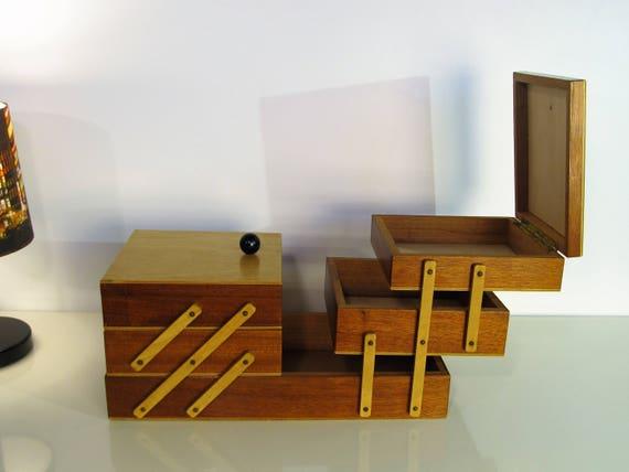 Bon Vintage Sewing Box Vintage Wooden Sewing Cabinet Accordion | Etsy