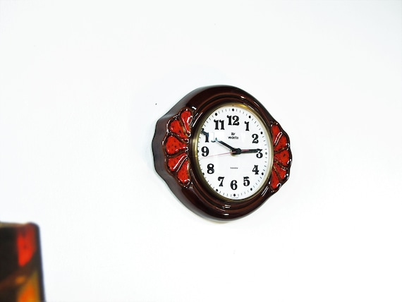 Vintage Ceramic Wall Clock, VEDETTE Transistor Kitchen Clock, Dark Brown  And Red Color, Farmhouse Decor, Mid Century Clock, Boho, France 70s