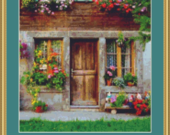 Sweet Cottage Cross Stitch Pattern - Instant Download, Digital Pattern