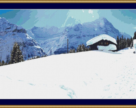Snowy Panorama Cross Stitch Pattern /Digital PDF Files /Instant downloadable