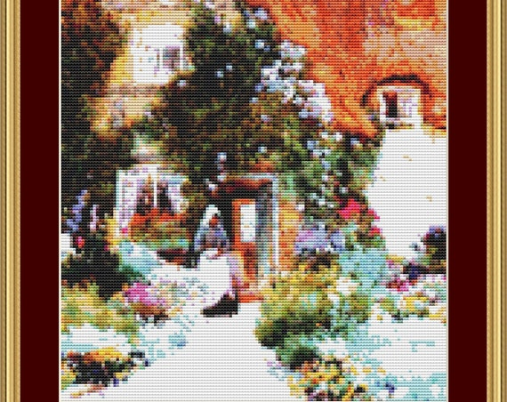 Outside The Cottage Cross Stitch Pattern /Digital PDF Files /Instant downloadable