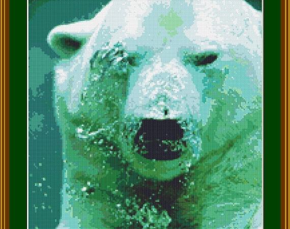 Polar Bear Under Water Cross Stitch Pattern /Digital PDF Files /Instant downloadable