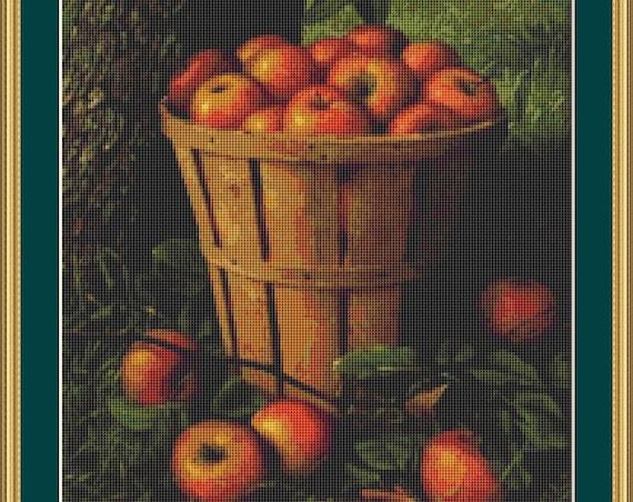 Basket Of Apples Cross Stitch Pattern /Digital PDF Files /Instant downloadable