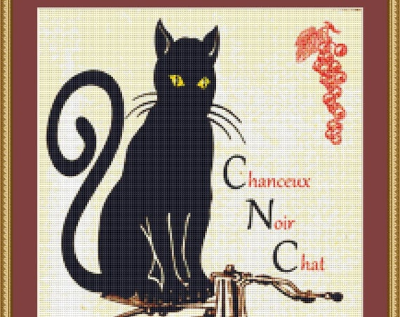 Chat Noir Cross Stitch Pattern /Digital PDF Files /Instant downloadable
