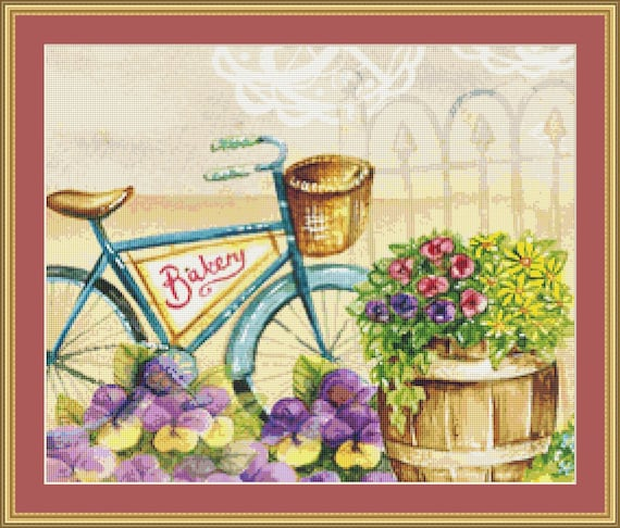 Bakery Bicycle Cross Stitch Pattern /Digital PDF Files /Instant downloadable
