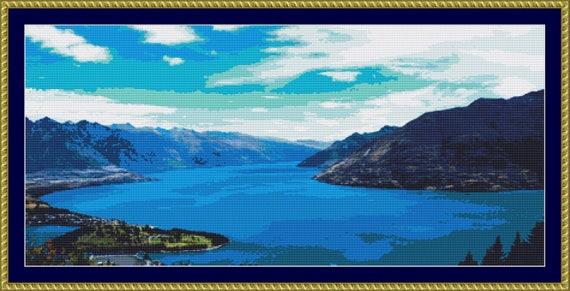 Stunning Lake Wakatipi Cross Stitch Pattern /Digital PDF Files /Instant downloadable