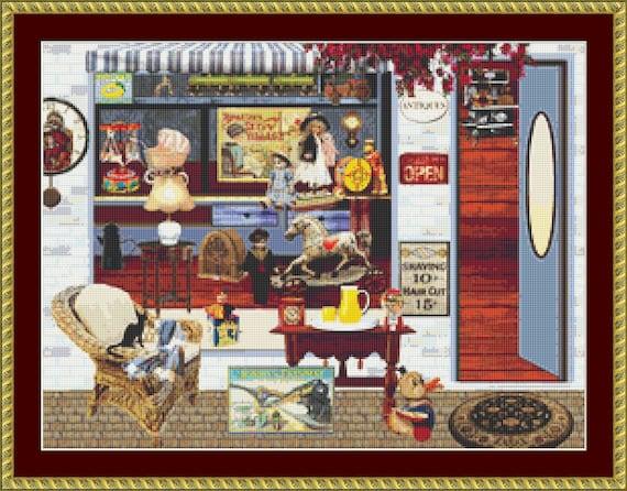 Cat At The Antique Shop Cross Stitch Pattern /Digital PDF Files /Instant downloadable
