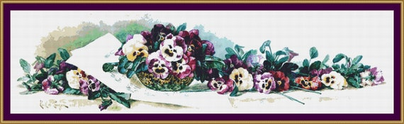 Pansy Waltz Cross Stitch Pattern /Digital PDF Files /Instant downloadable