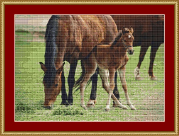 Mare And Foal Cross Stitch Pattern /Digital PDF Files /Instant downloadable