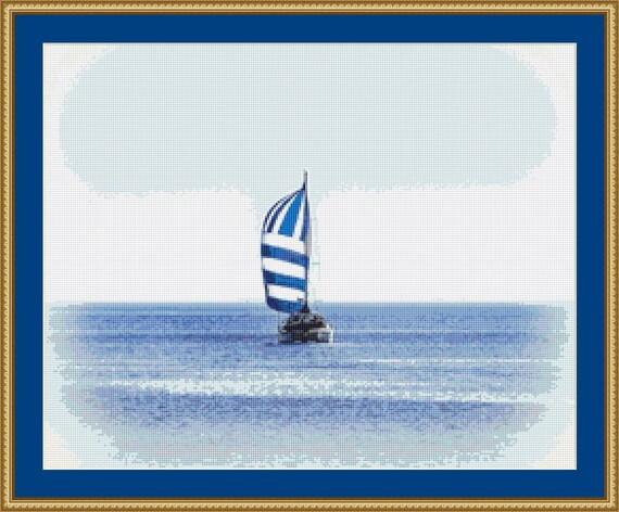 Catamaran Cross Stitch Pattern /Digital PDF Files /Instant downloadable