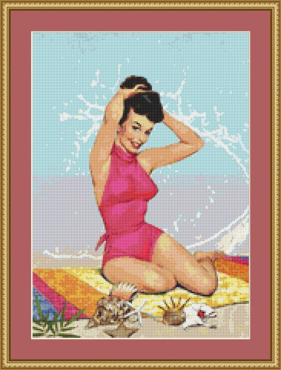 At The Beach Cross Stitch Pattern /Digital PDF Files /Instant downloadable