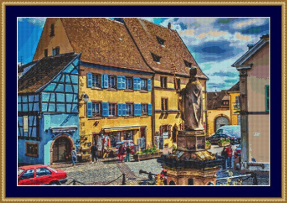 A Town Square Cross Stitch Pattern - Instant Downloadable / Digital PDF Files