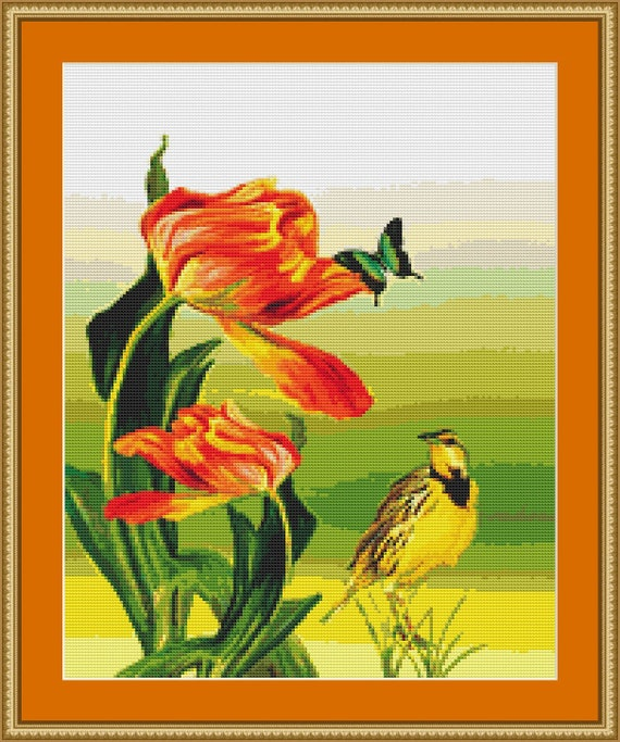 Bird, Butterfly And Flowers Cross Stitch Pattern - Instant Download / Digital Pattern