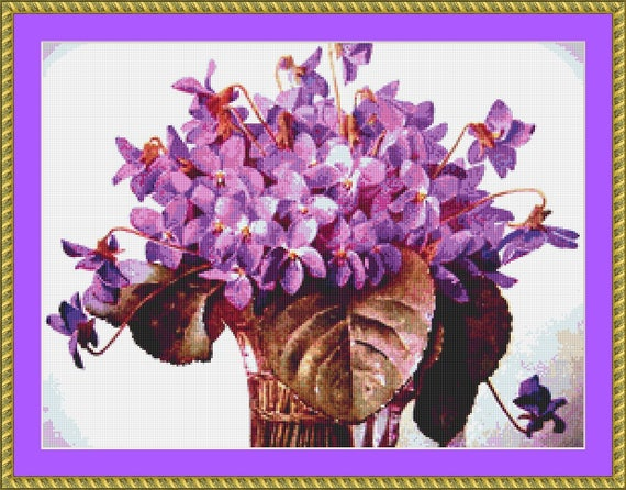 Spring Violets Cross Stitch Pattern - Instant Downloadable / Digital PDF FIles