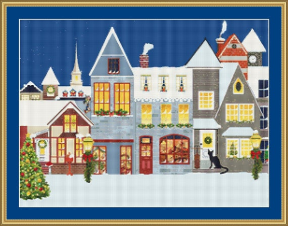 Cat At The Christmas Village Cross Stitch Pattern /Digital PDF Files /Instant downloadable