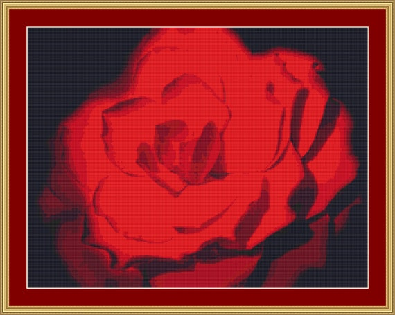 Red Flower Cross Stitch Pattern /Digital PDF Files /Instant downloadable