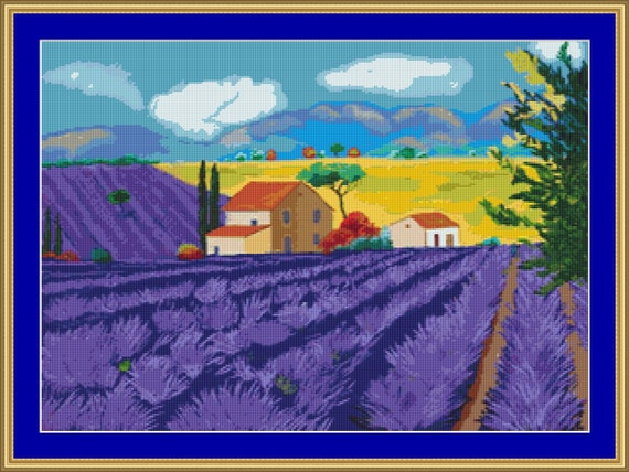 In Amongst The Lavender Cross stitch Pattern - PDF downloadable