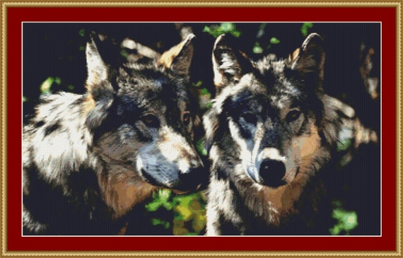 A Pair Of Grey Wolves Cross Stitch Pattern - Instant Download / Digital PDF Files
