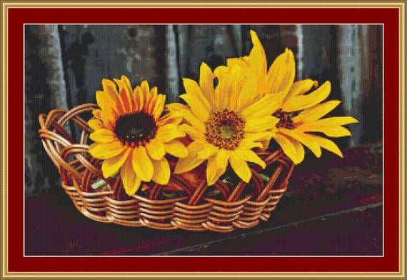 Basket Of Sunflowers Cross Stitch Pattern /Digital PDF Files /Instant downloadable