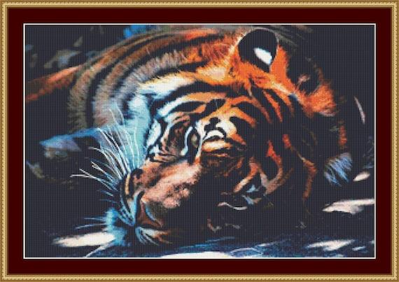 Resting Tiger Cross Stitch Pattern /Digital PDF Files /Instant downloadable