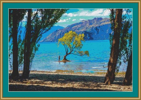 Lake Wanaka, New Zealand Cross Stitch Pattern /Digital PDF Files /Instant downloadable