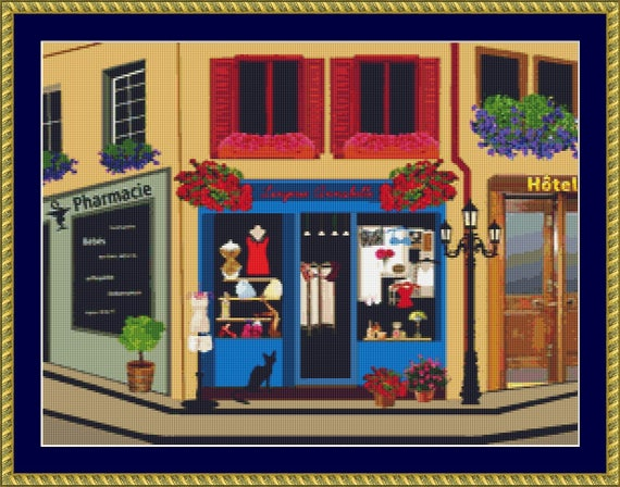 Cat At The Shop Cross Stitch Pattern /Digital PDF Files /Instant downloadable