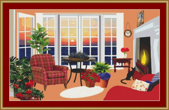 Cat In The Living Room II Cross Stitch Pattern /Digital PDF Files /Instant downloadable