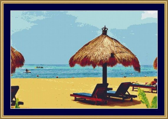 Beach In Bali Cross Stitch Pattern /Digital PDF Files /Instant downloadable