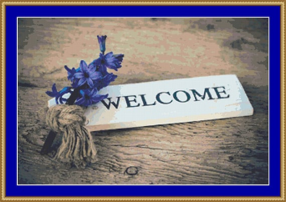 Welcome Cross Stitch Pattern /Digital PDF Files /Instant downloadable
