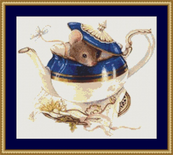 Mouse In The Pot Cross Stitch Pattern /Digital PDF Files /Instant downloadable