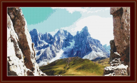 A View Of The Mountains Cross Stitch Pattern /Digital PDF Files /Instant downloadable