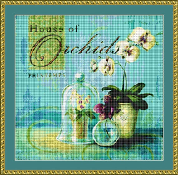 House Of Orchids Cross Stitch Pattern /Digital PDF Files /Instant downloadable