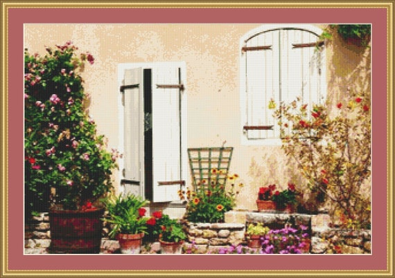 French Courtyard Garden Cross Stitch Pattern /Digital PDF Files /Instant downloadable