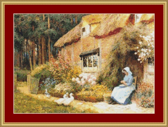 Woman Outside Cottage With Ducks Cross Stitch Pattern /Digital PDF Files /Instant downloadable