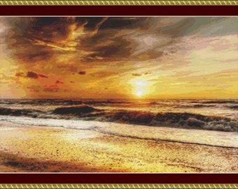 Beach Sunset Cross Stitch Pattern - Instant Digital Download