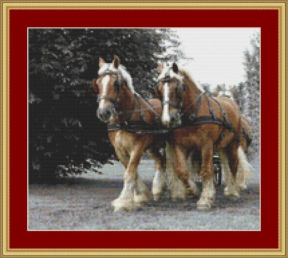 Draft Horses Cross Stitch Pattern /Digital PDF Files /Instant downloadable