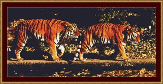 A Pair Of Tigers Cross Stitch Pattern - Instant Download / Digital PDF Files