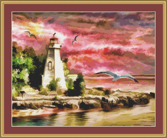 A Lighthouse At Sunset Cross Stitch Pattern - Digital Download