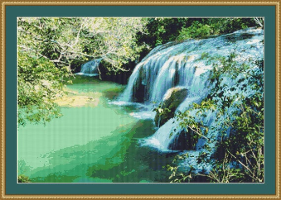 Waterfall Cross Stitch Pattern /Digital PDF Files /Instant downloadable