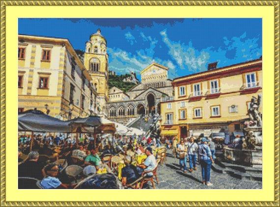 Amalfi Square Cross Stitch Pattern /Digital PDF Files /Instant downloadable