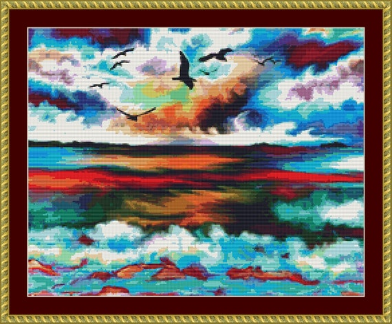 Colourful Ocean Cross Stitch Pattern /Digital PDF Files /Instant downloadable