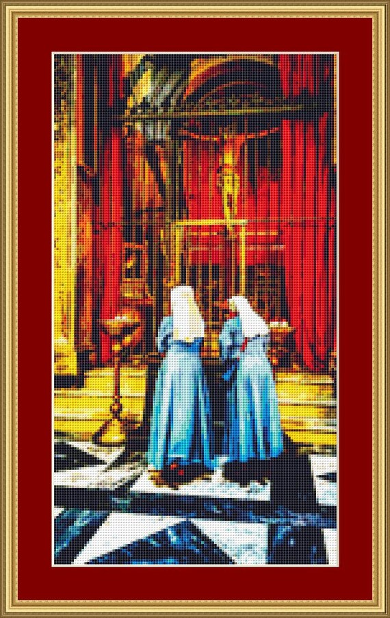 Two Nuns Cross Stitch Pattern - Instant Digital Downloadable